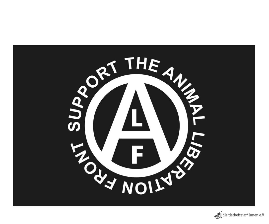 Fahne support the animal liberation front 15 00 - Front de liberation des nains de jardins ...