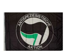 """Fahne """"Antispeziesistische Aktion"""" schwarz"""